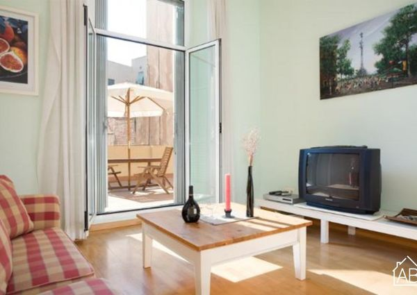 Bright apartment with a terrace on Las Ramblas